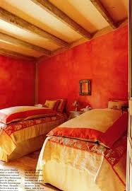 Orange Walls Rustic Style Bedroom In Provence France With Distressed Persimmon