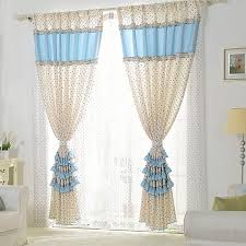 blue lace curtains with lace design and polka dots