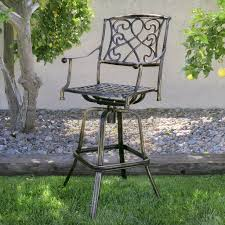 Antique Patio Chairs Outdoor Cast Aluminum Swivel Bar Stool Patio Furniture Antique