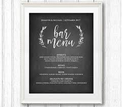 wedding bar menu template bar menu sign printable wedding sign rustic chalkboard drink