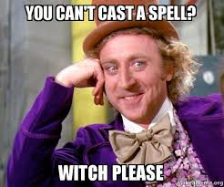 Witch Meme - you can t cast a spell witch please willy wonka sarcasm meme