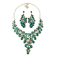 green crystal necklace set images Vintage rhinestone jewelry sets luxury crystal necklace earrings jpg