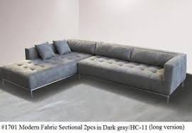 Tufted Sectional Sofas 2pc Fabric Modern Tufted Sectional Sofa 1701 Gray Large