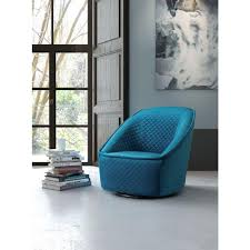 Pug Home Decor Zuo Pug Aquamarine Quilted Velvet Swivel Arm Chair 100251 The