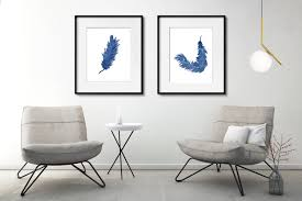 blue feather print set of 2 watercolor feathers art abstract