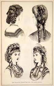 bonnet haircut 1870 wood engraving victorian lady hairstyles updos spring bonnet