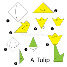 Step By Step Origami For - step by step how to make origami tulip stock vector