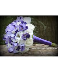 stunning unique bridal bouquet with 2 corsages purple and ivory