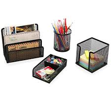 office desk organizer set amazon com 4 piece black wire mesh office desk organizer set w