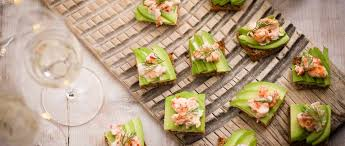 easy vegetarian canapes avocado and prawn cocktail toasts recipe olive magazine