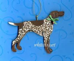 a beautiful handpainted wooden german shorthaired pointer ornament