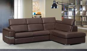 chiara full italian leather sectional sofa w sleeper in brown in