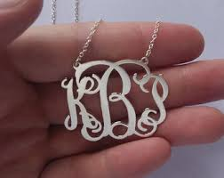 3 initial monogram necklace silver 3 initial necklace etsy