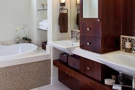 Bathroom Vanity With Shelves Custom Bathroom Cabinets Curved Sinks Two Level Vessel Sinks