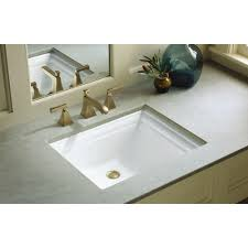 bathroom square ceramic undermount bathroom sink in white for