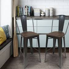 Metal Bar Stools With Wood Seat 149 99 Adeco Bronze Metal Bar Stools With Back Set Of 2