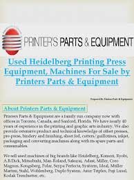 used heidelberg printing press equipment machines for sale by