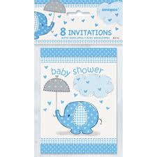 blue baby shower blue elephant baby shower invitations 8pk walmart