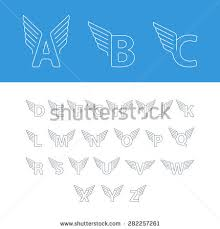 alphabet letters wings linear design vector stock vector 505024879