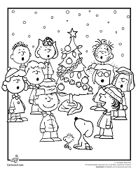 charlie brown christmas coloring pages peanuts gang woo