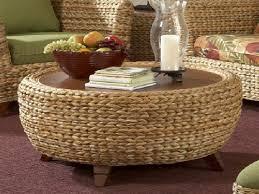 elegant round wicker ottoman coffee table oversized round abaca