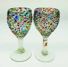 wine glasses hand blown pebble confetti 2