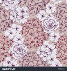 vintage floral wallpaper seamless pattern hydrangea stock vector