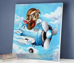 chambre garcon avion tableau ourson avion pour garçon vente tableau nounours pour la