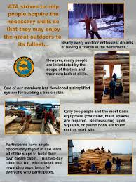 cabin building workshop education alaska trappers association