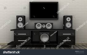 tv home theater empty led tv on television shelf stock illustration 357227837