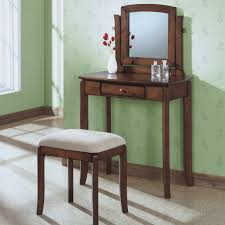 Bedroom Vanity Sets Dark Lacquered Bamboo Woven Vanity Table And Cushioned Bench Which