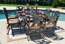 Outdoor Aluminum Patio Furniture Amalia 8 Person Luxury Cast Aluminum Patio Furniture Dining Set W