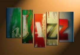 5 piece colorful jazz music multi panel canvas