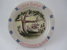 baby birth plates personalized personalized baby plates ceramic shoes in mi betsy ratzsch pottery