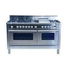 hallman 60 in 5 9 cu ft double oven dual fuel range with true