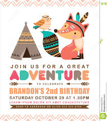 2nd Birthday Invitation Card Tribal Birthday Invitation Card Stock Vector Image 74364788