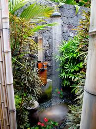 impressive outdoor bathroom shower with bamboo accessories