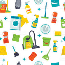 house cleaning tools seamless pattern background vector stock
