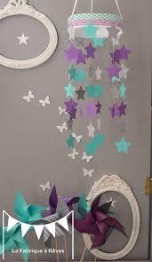 deco chambre turquoise gris mobile suspension étoiles turquoise gris et violet mauve