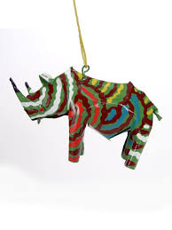 rhino ornament recycled tin ornaments