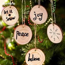 New Year Ornaments Craft Ourwarm 10pcs Wood Tree Ornament Diy Craft 2018