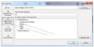 creating an excel menu worksheet