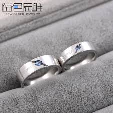 his and hers wedding bands sets blue sweet rings princess cut blue topaz gemstone wedding