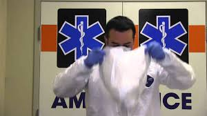 ems jumpsuit ebola ppe for ems jumpsuit n95 respirator don doff