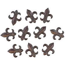 amazon com 6 pc set metal fleur de lis wall plaques 6 8