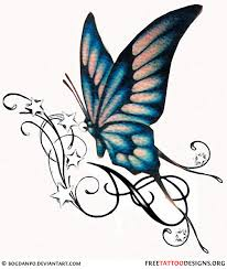 swirl stars and blue butterfly tattoo design