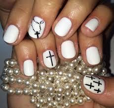white mani with black cross nail art spring summer 2014 design