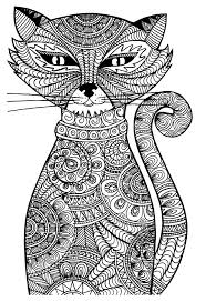 free coloring page coloring cat cat with zentangle patterns