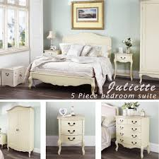 Shabby Chic White Bedroom Furniture Bedroom Juliette Shabby Chic Chagne Bed 5pc Bedroom