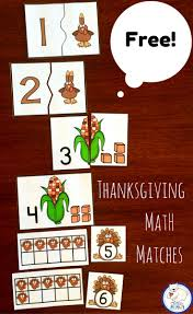 free thanksgiving math centers for kindergarten and grade